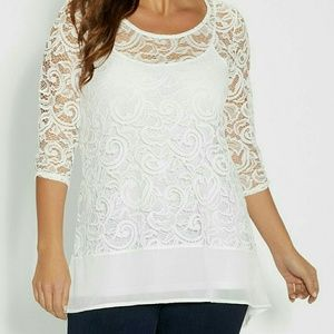 Maurices White Lace High Low tunic top